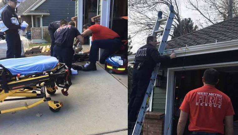 Bombeiros terminam de colocar luzes de Natal na casa de pai que quebrou a perna após cair da escada